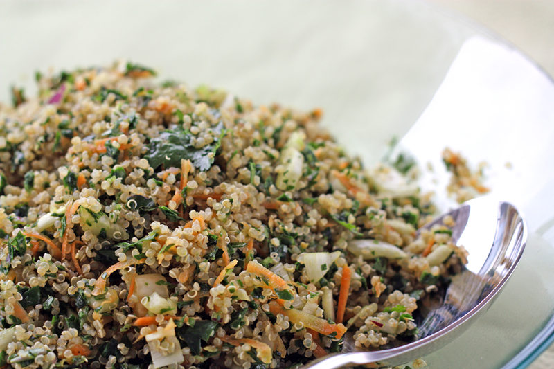 Quick Quinoa Kale Salad with Sesame Soy Dressing