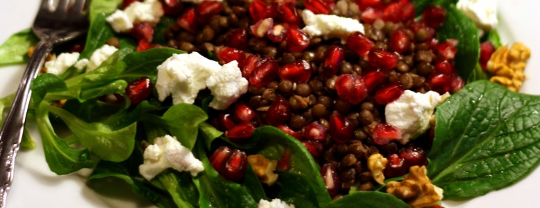 Winter Greens Salad with Pomegranate & Goat's Cheese