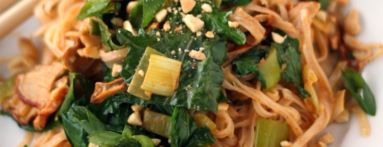 Coconut Red Curry Noodles with Winter Greens