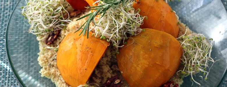 Herb-steeped Kabocha Squash with Roasted Garlic Quinoa